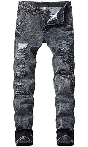 HENGAO Men's Fashion Slim fit Distressed Patch Jeans, Black, 32 ()