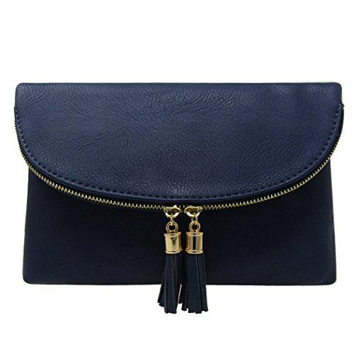 Envelop Women's Navy Accent Tassels Crossbody Bag With Solene Clutch 1CFfqHfw