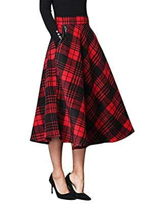 IDEALSANXUN Women's Fall/Winter Plaid Skirt Women Classic Grid Wool Long Skirt with Elastic Waist