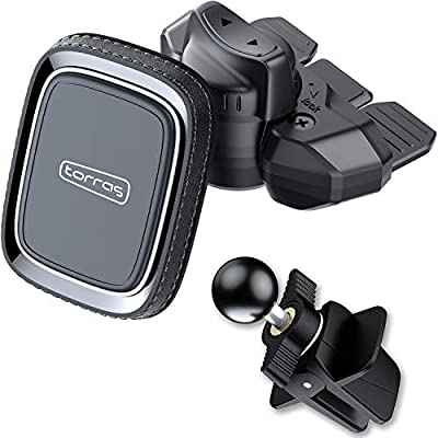CD Slot Magnetic Phone Mount, TORRAS 2 in 1 Universal Cell Phone Holder for Car CD Player/Air Vent Compatible for iPhone 11 Pro Max/SE/Xs/XS Max /8 Plus, Samsung S20/S20+/S10 Plus and All