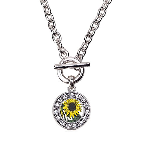 Sunflower Toggle - Inspired Silver Sunflower Circle Charm Toggle Necklace Clear Crystal Rhinestones