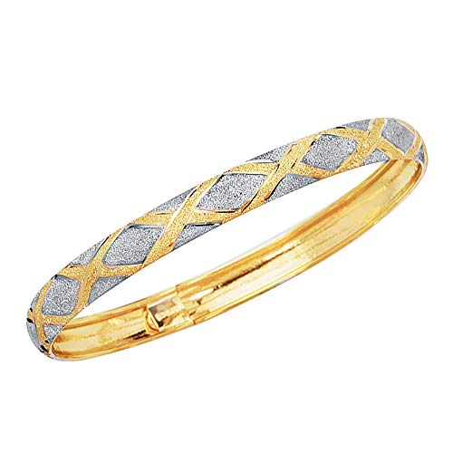 Tone Bracelet 10k Gold Two (Ritastephens 10k Real Yellow White Gold Two-tone Tubular Engraved X Flex Bangle Bracelet 7 Inches 6 Mm)