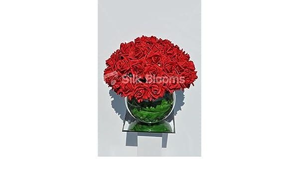 Gorgeous rojo de espuma Artificial rosa arreglo Floral en pecera jarrón: Amazon.es: Hogar
