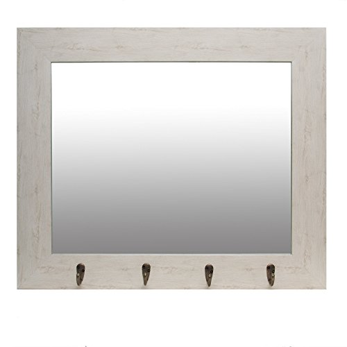 Pub Mirror (Patton Wall Decor White Washed Foyer Hooks Wall Mirror)