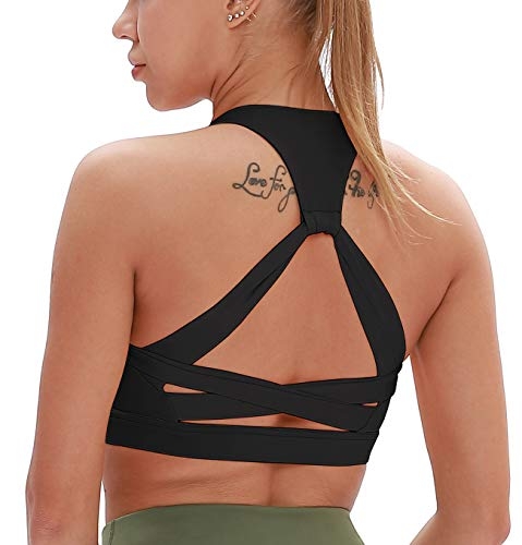 icyzone Workout Sports Bras for Women - Fitness Athletic Exercise Running Bra, Activewear Yoga Tops (L, Black)