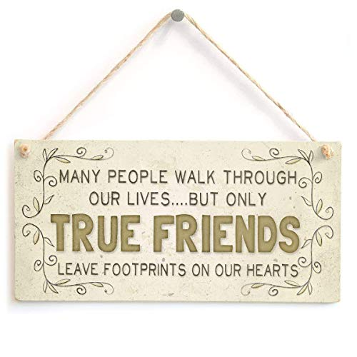 SZBOYU Many People Walk Through Our Lives... But Only True Friends Leave Footprints on Our Hearts - Beautiful Home Accessory Friendship Gift Sign 10x5 inch