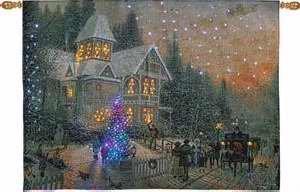 Thomas Kinkade Victorian Christmas Fiber Optic Wall Hanging with Remote