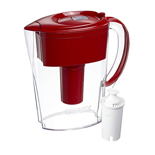 Brita Small 6 Cup Water Filter Pitcher with 1 Standard Filter, BPA Free – Space Saver, Red