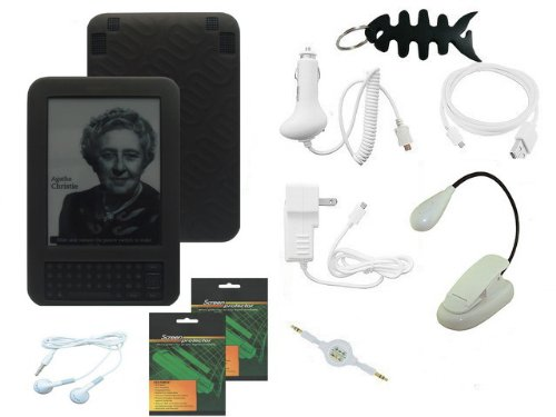 iShoppingdeals - 10 Item Accessory Bundle Combo for Amazon Kindle 3G Wireless Reading Device 3G + Wi-Fi, 6'' Display - Latest Generation. Black Silicone Case, Car Charger, Home AC Charger, USB Data Cable, 3.5mm Audio Cable, Clip-On (Dual LED) Reading Light by iShoppingdeals