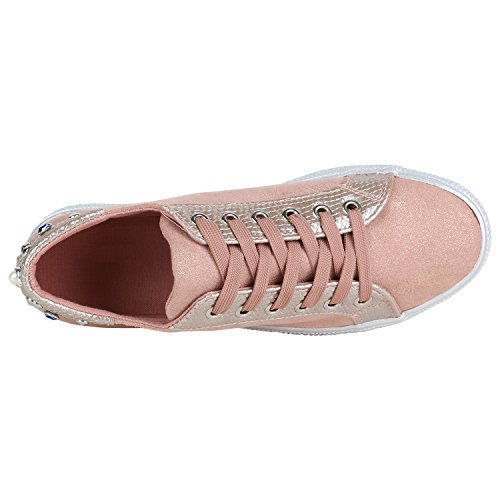 ... Stiefelparadies Plateau Sneakers Damen Sneaker Low Glitzer Metallic  Schuhe Sportschuhe Strass Turnschuhe Lack Animal Print Camouflage