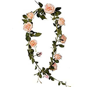 LUSHIDI 5.9Ft Artificial Rose Vine Silk Flower Garland Hanging Vines Home Outdoor Wedding Arch Garden Wall Decor,Pack of 1 (Pink) 39
