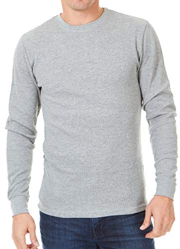 Unique Styles Mens Thermal Top Heavyweight Long Sleeve Waffle Weave Crew Neck (Large, Grey)