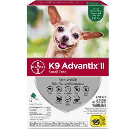 Bayer 6 Month K9 Advantix II Green for Small Dogs (Upto 10 lbs) (K9 Advantix Ii For Dogs 6 Month Supply)