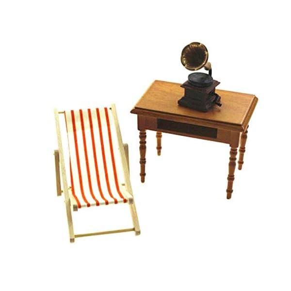 ZXYAN Sedia da Spiaggia Pieghevole in Legno in Miniatura con Accessori per mobili da Esterno a Strisce Blu/Rosso 3 spesavip