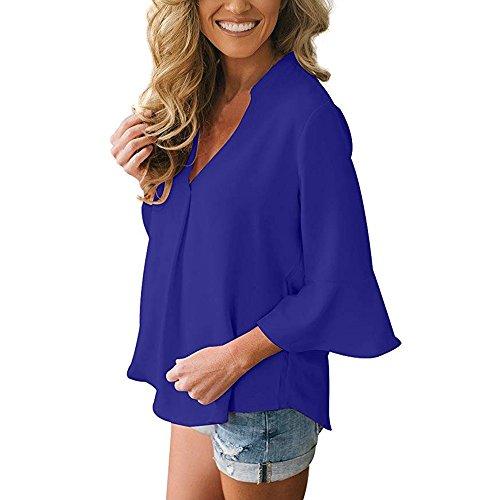 Col Longue Femme Grande Blouses Couleur Chemise et Weant Manche Tee Taille Blouse Solide Tops Chemisiers Shirt Bleu Casual Shirt Femme Blouse V Femme qEtCwx8p