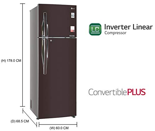 LG 360 L 3 Star with Inverter Double Door Refrigerator (GL-T402JRS3, Russet Sheen) 2021 July Frost-free refrigerator; 360 litres capacity Energy Rating: 3 Star Warranty: 1 year on product, 10 years on compressor