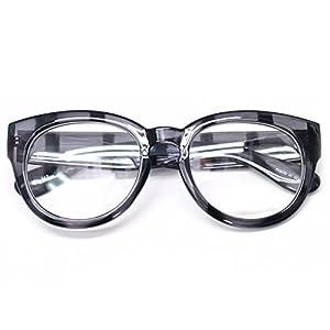 Classic Round Horn Rimmed Eye Glasses Clear Lens Oval Non Prescription Frame (Gray Zebra 6041, Clear)