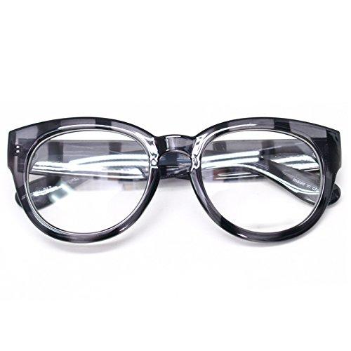 Classic Round Horn Rimmed Eye Glasses Clear Lens Oval Non Prescription Frame (Gray Zebra 6041, - Glasses Cheap Mens Online