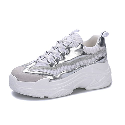 QQWWEERRTT Mode Neue Sportschuhe Frauen Plateauschuhe Dicken Boden Erhouml;hen Kleine Weiszlig;e Schuhe Leichte Freizeitschuhe  37|8821 Silber
