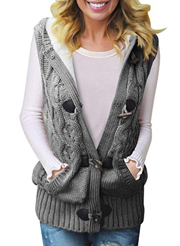 Sidefeel Women Hooded Sweater Vest Cable Knit Cardigan Outerwear Coat Large Grey