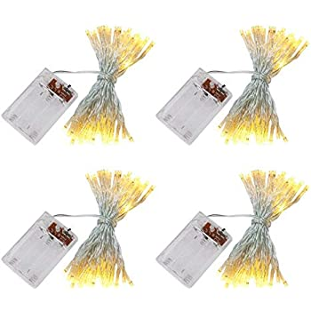 accmor 4 Pack 16.5ft/5m 50 LEDs Mini Bulb Battery Operated Fairy String Lights, Super Bright Starry Lights for Christmas Tree, Wedding, Party, Bedroom, Home Decoration, Crafts (Warm White)