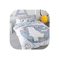 rainwater-shop Bear and Fox Printed Summer Bedding Set Kids Gray Bedclothes Set Cotton