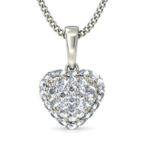 18K Or Blanc 0,43CT TW Round-cut-diamond (IJ | SI) Amour Pendentif