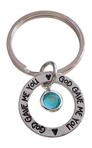 March Birthstone with Circle Ring God Gave Me You Keychain; Handbag (Circle Birthstone Charm)