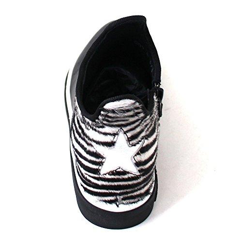 Zeus Star Cavallo Nappa Black/tallone Zebra White, Größe:37 Mexicana