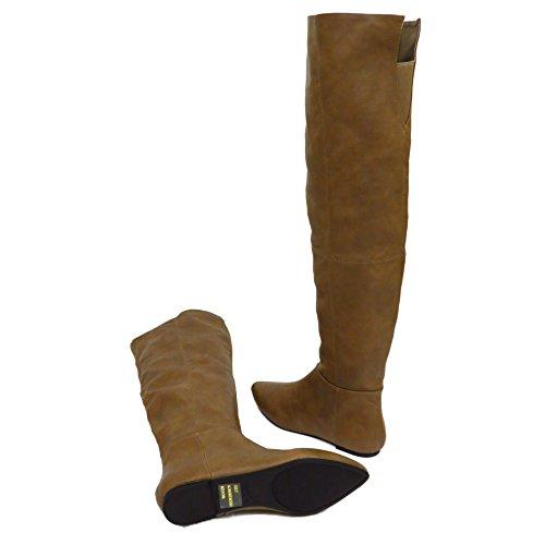 Damen Braun Überknie Schenkelhoch Flache Boho Riding Pixie Stiefel Schuhe Größen 3-8
