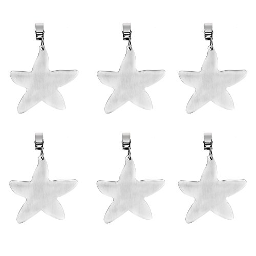 TEKEFT Set of 6 Stainless Steel Starfish Shaped Table Cover Tablecloth Weights (Starfish) (6)
