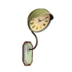 Wall Clock Vintage Wrought Iron American Style Industrial Loft Wall Mount Mantel Clocks for Bar Restaurant Living Room(Green,23.69.65.9 in) LF