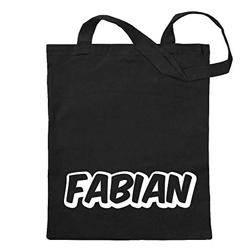 Fabian first name Boys jute bag printed Design Print Gift Idea (Fabian Schwarz)