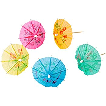 The Bar Paper Cocktail Parasols with Attached Wooden Picks, 50-count
