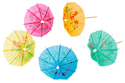 The Bar 45-Count Vibrantly-Colored Decorative Party Parasol with Attached Wooden Pick, 1-pack