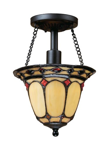 Elk 70089-1 Diamond Ring 1-Light Semi-Flush Mount, 11-Inch, Burnished (Tiffany Copper Bulb)
