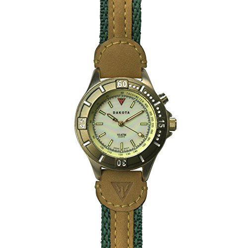 - Dakota Women's Quartz Stainless Steel and Leather Watch, Color:Tan/Green (Model: 27305)