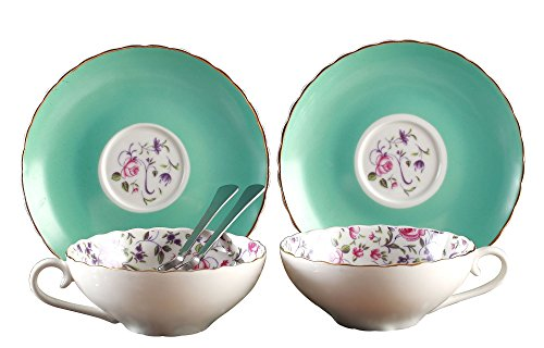 Jusalpha Elegant Blue Tea Cup and Saucer Set-Coffee Cup Set with Saucer and Spoon FD-TCS10 (Set of 2, Blue-B) (2 Cup Saucer Sets)