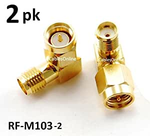 CablesOnline SMA Male to Female Right Angle 90-Degree Adapter w/ Gold Plated Contacts(2-PACK)(RF-M103-2)