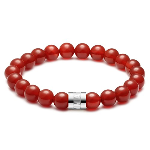 MATT HANN Titanium Steel Red Agate Bracelet Original Handmade Grouding Stone Protection 8mm Color Silvery