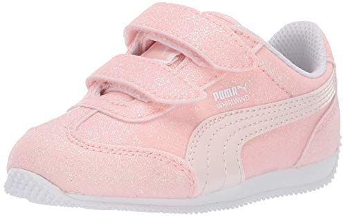 PUMA Unisex-Baby Whirlwind Glitz Velcro Sneaker, Pearl-White, 8 M US Toddler ()