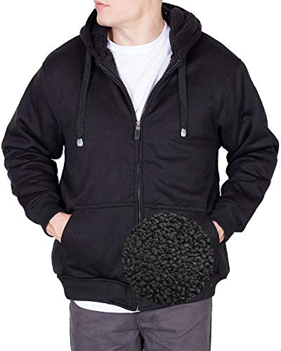 - Maxxsel Mens Fleece Jacket Heavy Polar Fur lined Zip Up Hoodie (XXXX-Large, Black)