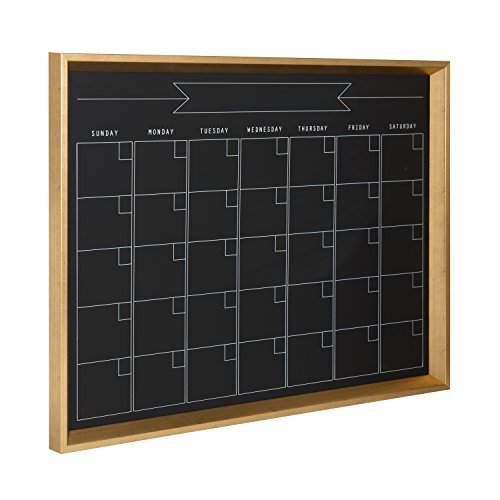 Kate and Laurel Calter Framed Magnetic Chalkboard Monthly Calendar, Gold