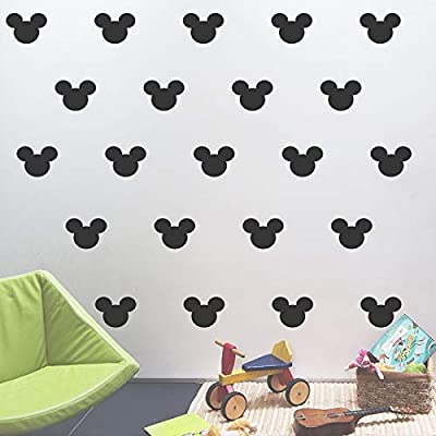 YONGPAN 24PCS Cartoon Mickey Mouse Head Wall Sticker Baby Nursery Cute Animal Wall Decal Children Room, Wall Art Easy Removable (Black, Vinyl PVC Material): Baby