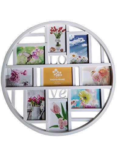 Mkun 4x6 Wall Photo Frame - Round Circular Circle Wall Hanging Picture Photo Collage Frame with Love Word Art, 9- Opening (White)