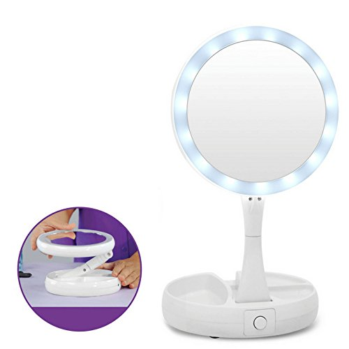Vanity Mirror LED Lighted Makeup Mirror 1X/10X Magnifying Two-Sided Compact Travel Mirror (Sided Makeup Two Mirror Lighted)