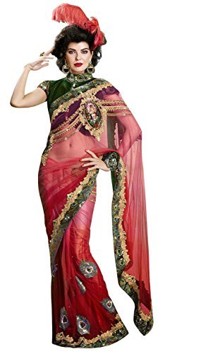 INMONARCH Womens Amazing Shaded Red Net Saree SSA9309