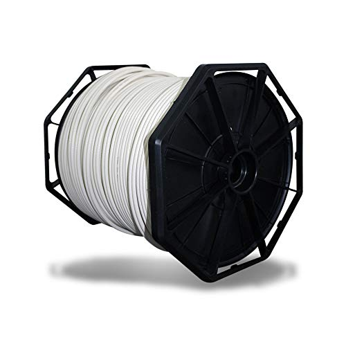 RG6 Coaxial Coated, 500 ft, White PVC Covered, Rated for Indoor and Outdoor Use