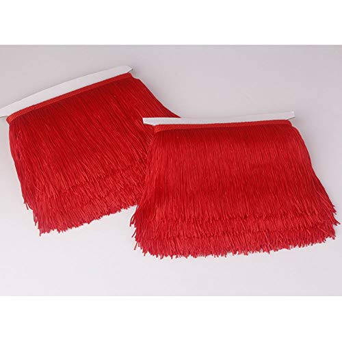 Heartwish268 Fringe Trim Lace Polyerter Fibre Tassel 6inch(″) Wide 10 Yards Long for Clothes Accessories and Latin Wedding Dress and DIY Lamp Shade Decoration Black White Red (Red)