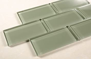 "Echipse - 3""x6"" Sea Green Glass Tile - Bathroom Tile & Kitchen  Backsplash"